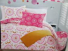 5 pcs Cynthia Rowley Twin Duvet Set & Sheet Set - Pink Orange - Dots & Leaf NEW