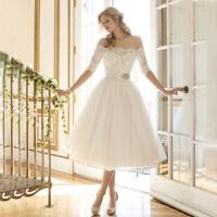 White Ladies Off Shoulder Lace Tea Length Formal Bridal Gown Short Wedding Dress