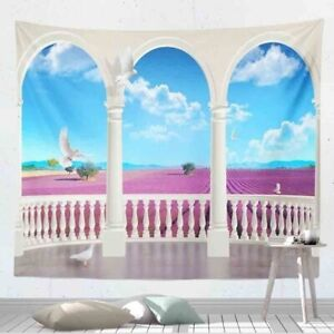 3D Lavender Landscape Tapestry for Room Vintage Arch Tapestry Wall Hanging Decor
