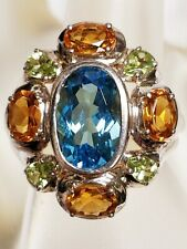 Large Sterling Silver Colorful Multi Color Gem Stone Oval Ring US Size 7 3/4