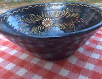 "Vintage French 12""x6"" Black pottery tian Large Serving Bowl Alsace Savoy Floral"