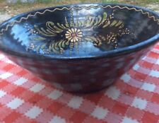 """Vintage French 12""""x6"""" Black pottery tian bowl Alsace Mixing Floral Art Pottery"""