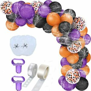 132pcs Balloon Arch Garland Kit Halloween Balloons Party Decor with Spider Web