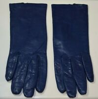Ladies 7/Small Soft Blue Genuine Leather Made in Italy Winter Gloves Wrist