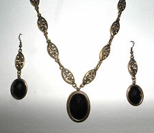 VICTORIAN STYLE BLACK FACETED OVAL GOLD PLATED MARQUISE NECKLACE SET
