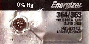 1 NEW ENERGIZER SR621SW 364/363 Silver Oxide 1.55v Watch Batteries Aussie Stock