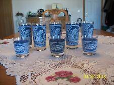 Currier & Ives Set Of 8 Vtg. Blue & White Drinking Goblet Tumbler Glasses
