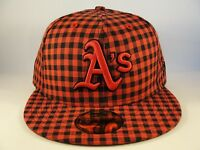 MLB Oakland Athletics New Era 59FIFTY Fitted Hat Cap Buffagingh Red Black Plaid