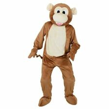 Adult Big Head Cheeky Monkey Fancy Dress Mascot Costume Jungle Animal Unisex New