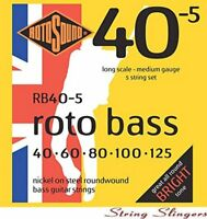 Rotosound RB40-5-F 'Rotobass' Nickel Roundwound 5-String Bass strings 40-125