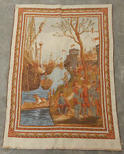 Vintage French Port Scene Wall hanging 96X135cm A106