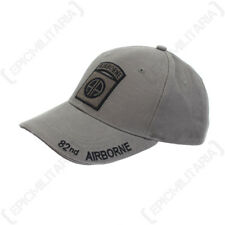 Grey US 82nd Airborne Baseball Cap - One Size - Paratroop Sun Peak Hat NEW