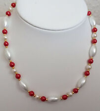 "16"" Glass Pearl Necklace with Golden Magnetic Clasp MA1338"