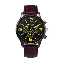 Retro Mens Business Watch Leather Band Analog Alloy Quartz Casual Wrist Watches