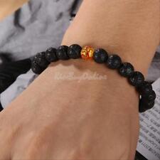Mens Womens Yellow Natural Stone Black Lava Rock Beaded Stretch Energy Bracelet
