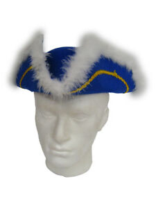 BLUE & GOLD FEATHERED TRICORN FANCY DRESS HAT