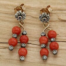 Yellow Gold Earrings 14 Carats with Coral Diamonds & Sapphires of Style Antique