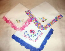 Lot of 3 Vintage 1940's/50's Hand Crochet Handkerchief Lot # 17