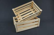 1 x Plain Wooden Crate Caddy Storage Tray Unit Vintage Tray (PD31L)