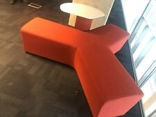 More details for orangebox away from desk 120 degree tri seat breakout sofa with table red office