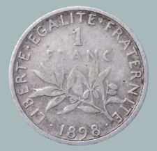 1898 France Third Republic Silver Coin Coinage Standard 1 Franc KM# 844 #61