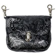 Genuine Leather Belt Bag - Hip Clip Purse - Embossed Floral - USA MADE