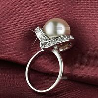 18K WHITE GOLD GF MADE WITH SWAROVSKI CRYSTAL PEARL DRESS RING