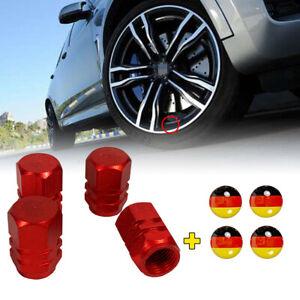 4PCS Wheel tire cap Red Aluminium air valve stem Cover Germany Flag Stickerr