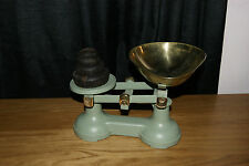 STUNNING VINTAGE VERY HEAVY CAST IRON AND BRASS KITCHEN SCALES AND WEIGHTS