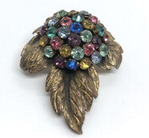 Vintage Dress Clip Rhinestone Flower Cluster Gold Tone Mid Century Modern