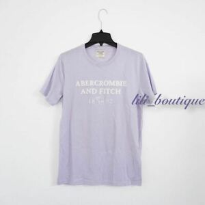 NWT New Abercrombie & Fitch Men Graphic Logo Short Sleeve T-Shirt Lilac White L