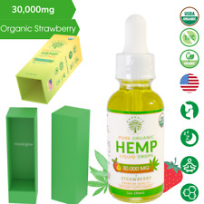 Hemp Oil Pure Organic Drops for Pain Relief, Anxiety, Stress, Sleep - Strawberry