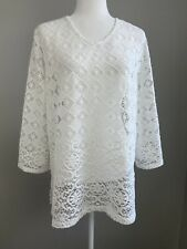 Chicos Women's Lace Tunic Top - Size 2 (Large 2-14) - White - EUC
