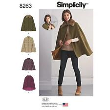 SIMPLICITY SEWING PATTERN MISSES' CAPES & CAPELETS COLLAR VARIATIONS XS-XL 8263