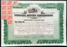 PORTLAND AIRPORT CORPORATION Stock 1928. Portland, Maine Stroudwater Airport VF+