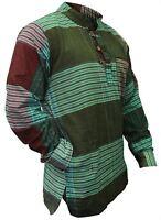 Mens Collarless Checkered Hippy Grandad Shirt Full Sleeved Boho Casual Tops