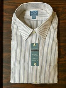JOS A Bank | Stays Cool | Size 17 1/2 35 | White Striped | Cotton Wrinkle Free