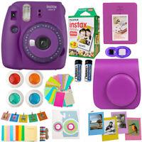 Fujifilm Instax Mini 9 Instant Camera Purple + 20 Fuji Film + Accessory Bundle!