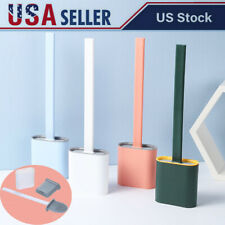 Silicone Toilet Brush Flat Head Flexible Soft Bristles Brush Wc with Holder B6T6