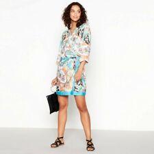 MW by Matthew Williamson-Turquoise Scarf Print Short Kimono Dress Size 8