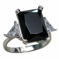 AMAZING 8 CT BLACK ONYX 925 STERLING SILVER RING SIZE 5-10