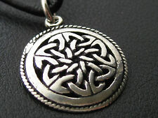 Keltischer Knoten 925'er Silber + Echtlederband Ketten Anhänger / KA 033