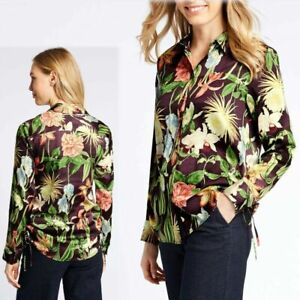 M&S Silky Sheen FLORAL PRINT Long Sleeve SHIRT ~ Size 10, 12 or 14 ~ PURPLE Mix