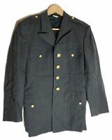 100% WOOL Vintage US Army Men's Jacket Green Uniform Coat Blazer 37 Slim