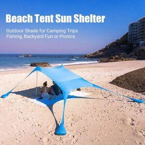 Family Beach Tent Canopy Sun Shade Tent With Sandbag tents Sand Anchor, Portable