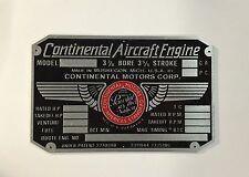 Continental Motors 65 HP Engine Data Plate, Nice!! Piper Cub, Aeronca, Luscombe