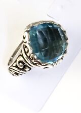 Sterling Silver Pear Shaped Cushion Cut Blue Topaz Filigree Size 6 Ring.