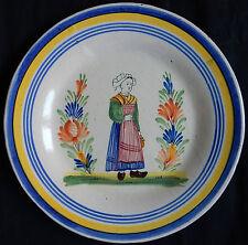 B116) Assiette ancienne (MALICORNE?) décor QUIMPER (TBE)
