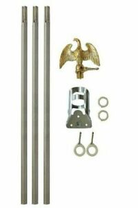6' Ft Residential Flag Pole Kit Tangle Free No Furl Rings & Optional Flag