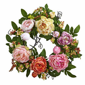 Nearly Natural 20'' Mixed Peony & Berry Wreath Realistic Home Office Decoration